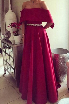 Glamorous Off-the-Shoulder Ruffles Prom Dresses Sleeveless Sexy Evening Dresses with Belt_2