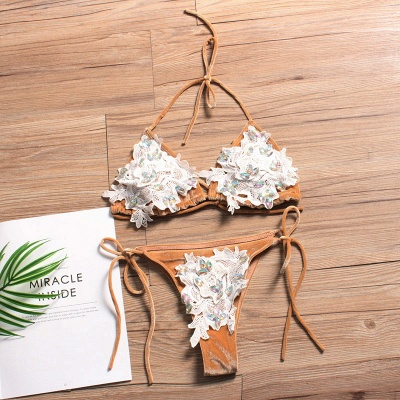 Shiny Sewing Diamonds Push-up Bra Triangle Bikini Swimsuits_8