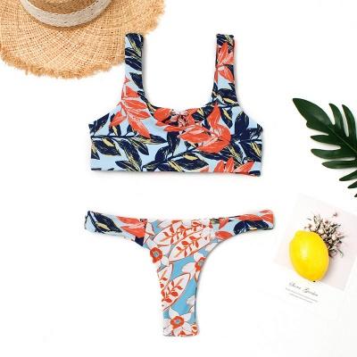 High Waist Lace-up Straps Flower Prints Bikinis_5