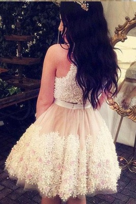 Crystal Lace Appliques Jewel Homecoming Dresses | Two Piece Sleeveless Short Party Dresses_2