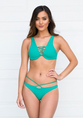 Lace-up Bandage Plain Two-piece Bikini Beachwears_10