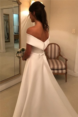 Gorgeous Off-the-Shoulder Wedding Dresses | Bowknot Ribbons Sleeveless Floral Bridal Gowns_2