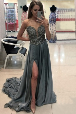 Glamorous Jewel Applique Ruffles Prom Dresses Sleeveless Side Slit Sexy Evening Dresses with Beads_1