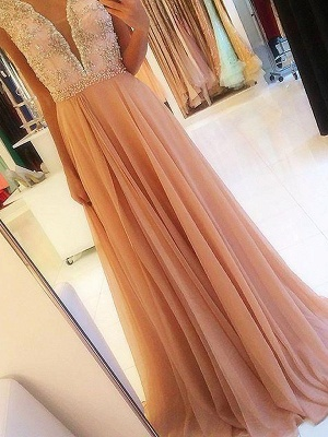 Glamorous Open Back Lace Appliques Prom Dresses | Tulle  Evening Dresses with Crystal_3