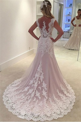 Lovely Pink Appliques Wedding Dresses | Sleeveless Floral Bridal Gowns Online_2