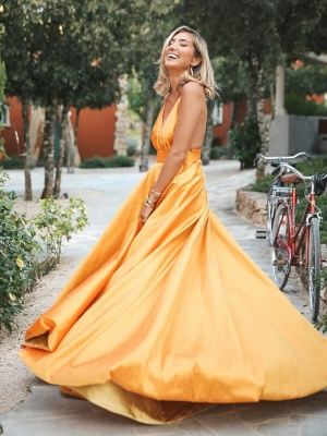 Elegant Orange Spaghetti-Straps Summer Sleeveless Sexy Low Cut Princess A-line Prom Dress | Suzhou UK Online Shop_3