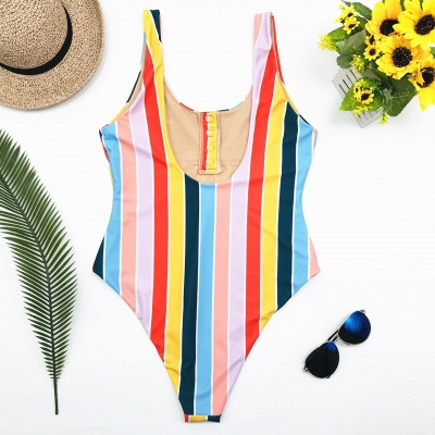 One-piece Buttons Straps Colorful Stripes Swimwears_3
