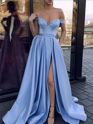 Glamorous Off-the-Shoulder Sleeveless Prom Dresses Side Slit Sexy Evening Dresses Cheap_2