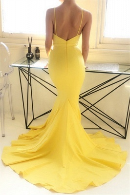 Charming yellow Spaghetti Strap Prom Dresses Sleeveless Mermaid Open Back Sexy Evening Dresses_3