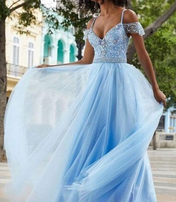 Glamorous Crystal SpagheetiStraps Prom Dresses | Sheer  Sequins leeveless Evening Dresses_2