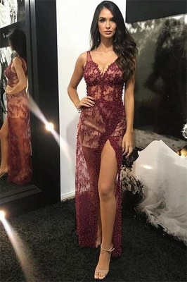 Wine Red Straps Sexy Low Cut Lace Beading Side-Slit Quality Tulle Detachable Princess A-line Evening Gown | Suzhou UK Online Shop_2