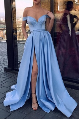 Glamorous Off-the-Shoulder Sleeveless Prom Dresses Side Slit Sexy Evening Dresses Cheap_3