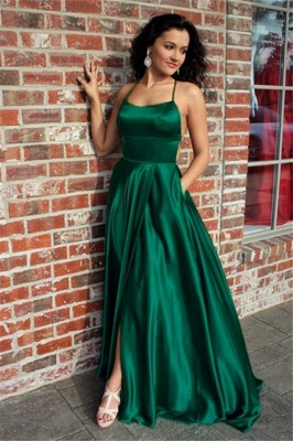 Green Lace Up Halter Prom Dresses | Front Slit  Evening Dresses with Package_1