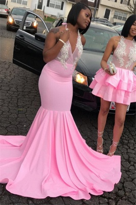 Elegant Pink Halter Summer Sleeveless Trumpet Girl's Evening Gown | Suzhou UK Online Shop_2