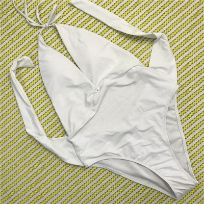 One Piece Sexy V-Neck Halter Ribbon Bow Swimwear Suits_1