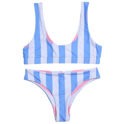 Vintage Scoop Spaghetti Striped Two-piece Swimsuits_4
