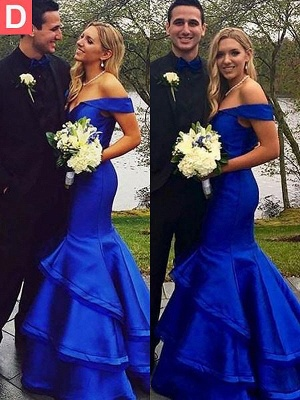 Glamorous Off-the-Shoulder Ruffles Prom Dresses | Sexy Mermaid Sleeveless Evening Dresses_5