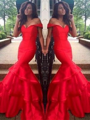 Glamorous Off-the-Shoulder Ruffles Prom Dresses | Sexy Mermaid Sleeveless Evening Dresses_2