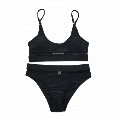 Simple Two-piece Hollow Out Mesh Bikini Sets_5