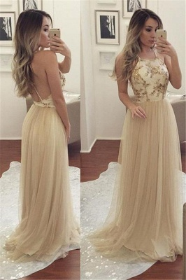 Glamorous Halter Sequins Lace Appliques Prom Dresses | Backless Sheer Sleeveless Evening Dresses_1