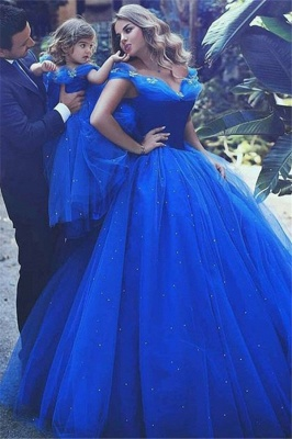 Glamorous Off-the-Shoulder Flower Prom Dresses | Sleeveless Tulle Ball Gown Evening Dresses wit Beads_1