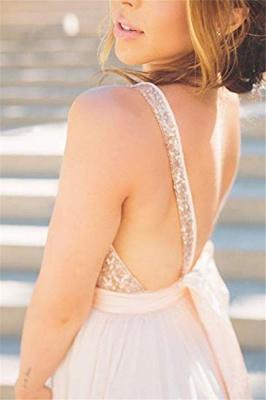 Glamorous V-Neck Sequins Ruffles Prom Dresses Sleeveless Open Back Sexy Evening Dresses_3