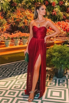 Sexy Wine Red Strapless Side-Slit Princess A-line Long Prom Dresses | Suzhou UK Online Shop_2