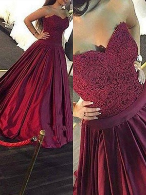 Burgundy Sweetheart Lace Appliques Prom Dresses | Ruffles Sleeveless Evening Dresses_2