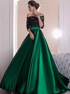 Glamorous Black Lace Long Sleeves Prom Dresses Bateau Sexy Evening Dresses_1
