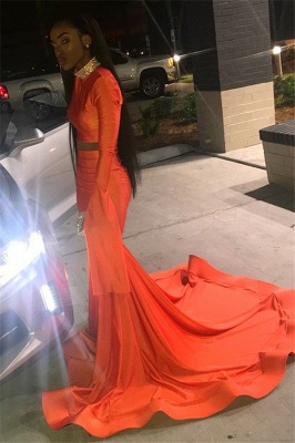 Sexy Orange Sleeved High-Neck Trumpet Long Prom Dress | Suzhou UK Online Shop_3