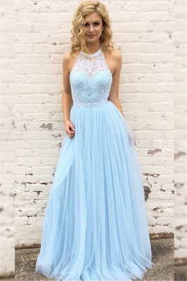 Glamorous Lace Halter Prom Dresses Sleeveless Tulle Sexy Evening Dresses with Belt_1