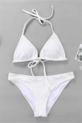 Plain Triangle Pads Halter Two-piece Bikini Sets_1