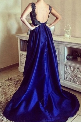 Royal Blue 3-D Flower Crystal Prom Dresses Hi-lo Open Back Sexy Evening Dresses with Beads_3