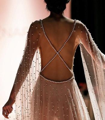 Elegant Pink Sheer-Quality Tulle Trendy Backless Beading Princess A-line Prom Dress | Suzhou UK Online Shop_2