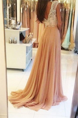 Glamorous Open Back Lace Appliques Prom Dresses | Tulle  Evening Dresses with Crystal_2