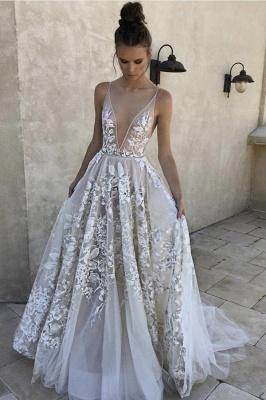 Lace Appliques Spaghetti-Strap Prom Dresses | Sheer  Sleeveless Evening Dresses_1