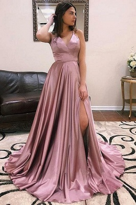 Princess A-line Sexy Low Cut Summer Sleeveless Front Slit Long Prom Dresses | Suzhou UK Online Shop_3