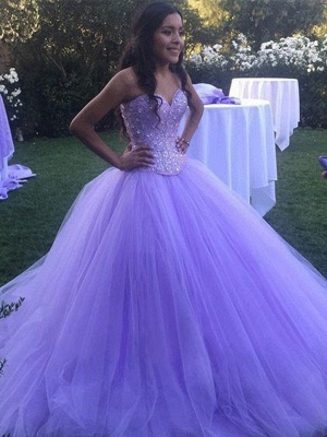 Glamorous Crystal Sweetheart Applique Prom Dresses Ball Gown Sleeveless Sexy Evening Dresses_2