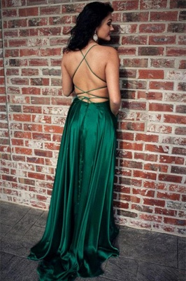 Green Lace Up Halter Prom Dresses | Front Slit  Evening Dresses with Package_2