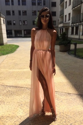 Glamorous Sheer Halter Ribbons Prom Dresses | Side slit Overskirt Bowknot Sleeveless Evening Dresses_3