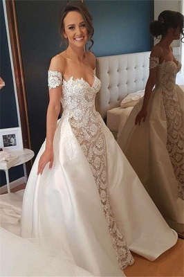 Sexy Lace Appliques Sweetheart Wedding Dresses | Overskirt Sleeveless Floral Bridal Gowns