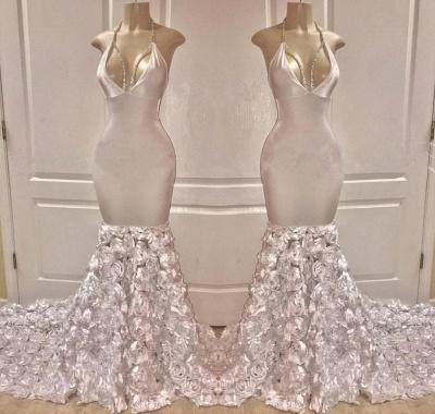 Glamour Halter Sexy Low Cut Flower Trumpet Prom Dresses | Suzhou UK Online Shop_2