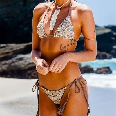 Lace Triangle Cut-outs Halter Bikini Swimwears_5