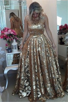 Glamour Gold Straps Beaded Sequins Summer Sleeveless Prom Dress   Suzhou UK Online Shop_3