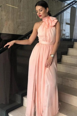 Glamorous Sheer Halter Ribbons Prom Dresses | Side slit Overskirt Bowknot Sleeveless Evening Dresses_2