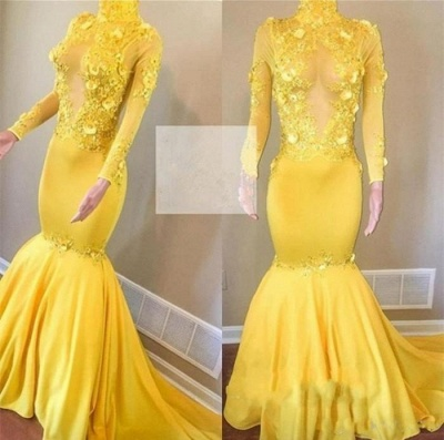 Yellow High Neck Flower Appliques Trumpet Long Sleeves Prom Dresses | Suzhou UK Online Shop_3