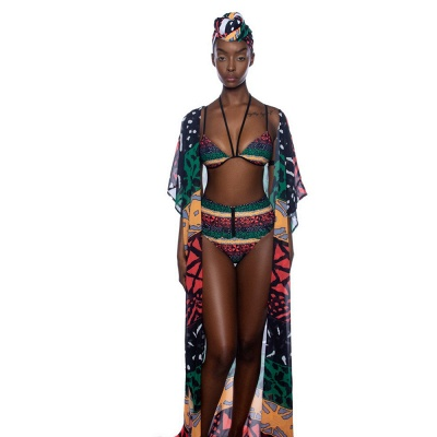 Tribal Prints Straps Two-piece Bikini Set with Cover-up_8