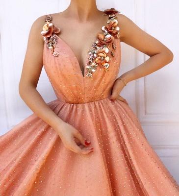Orange Flower Appliques Straps Summer Sleeveless Quality Tulle Princess A-line Prom Dress | Suzhou UK Online Shop_2
