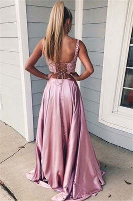 Pink Scoop Lace Up Two Piece Prom Dresses | Sleeveless Side Slit Evening Dresses with Pocket_2