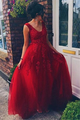 Red Jewel Lace Appliques Sleeveless Prom Dresses | Tulle Evening Dresses with Beads_2